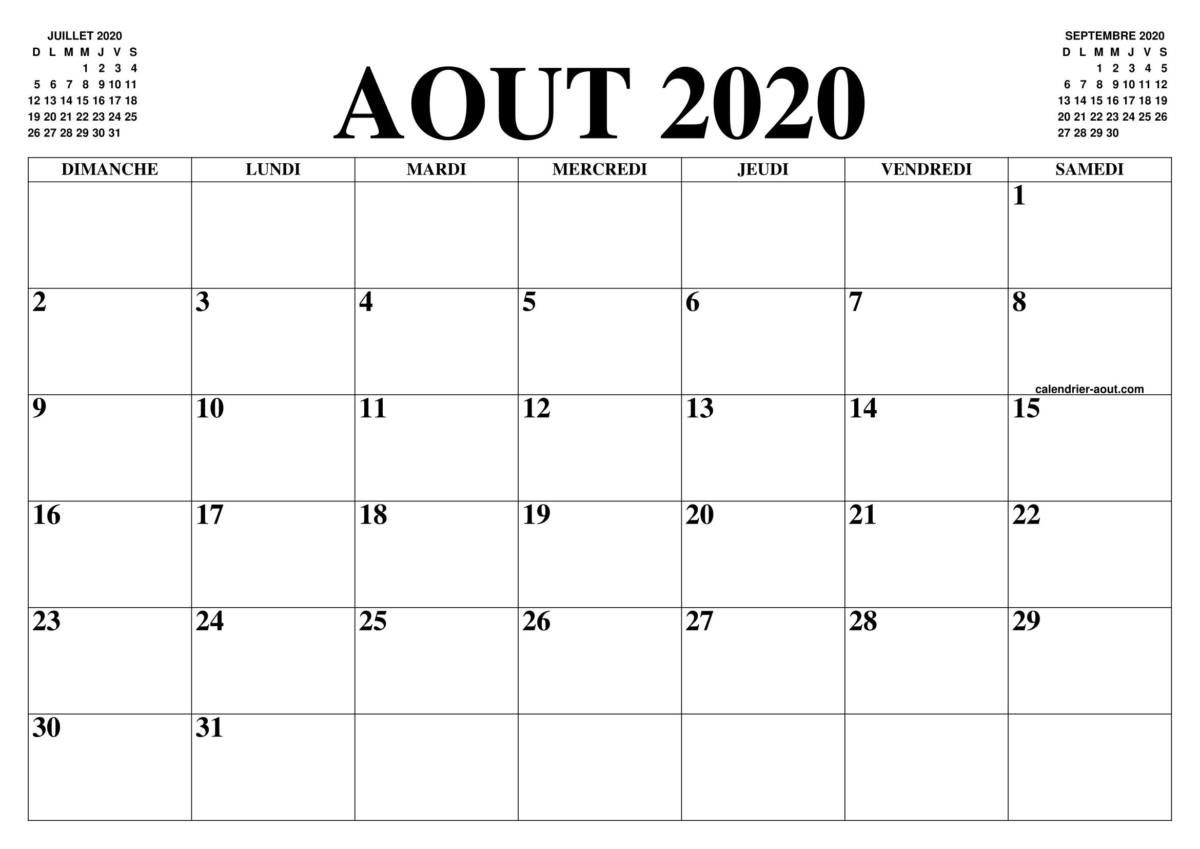 Calendrier Juillet 2020 A Imprimer Gratuit.Calendrier Aout 2020 Le Calendrier Du Mois De Aout Gratuit