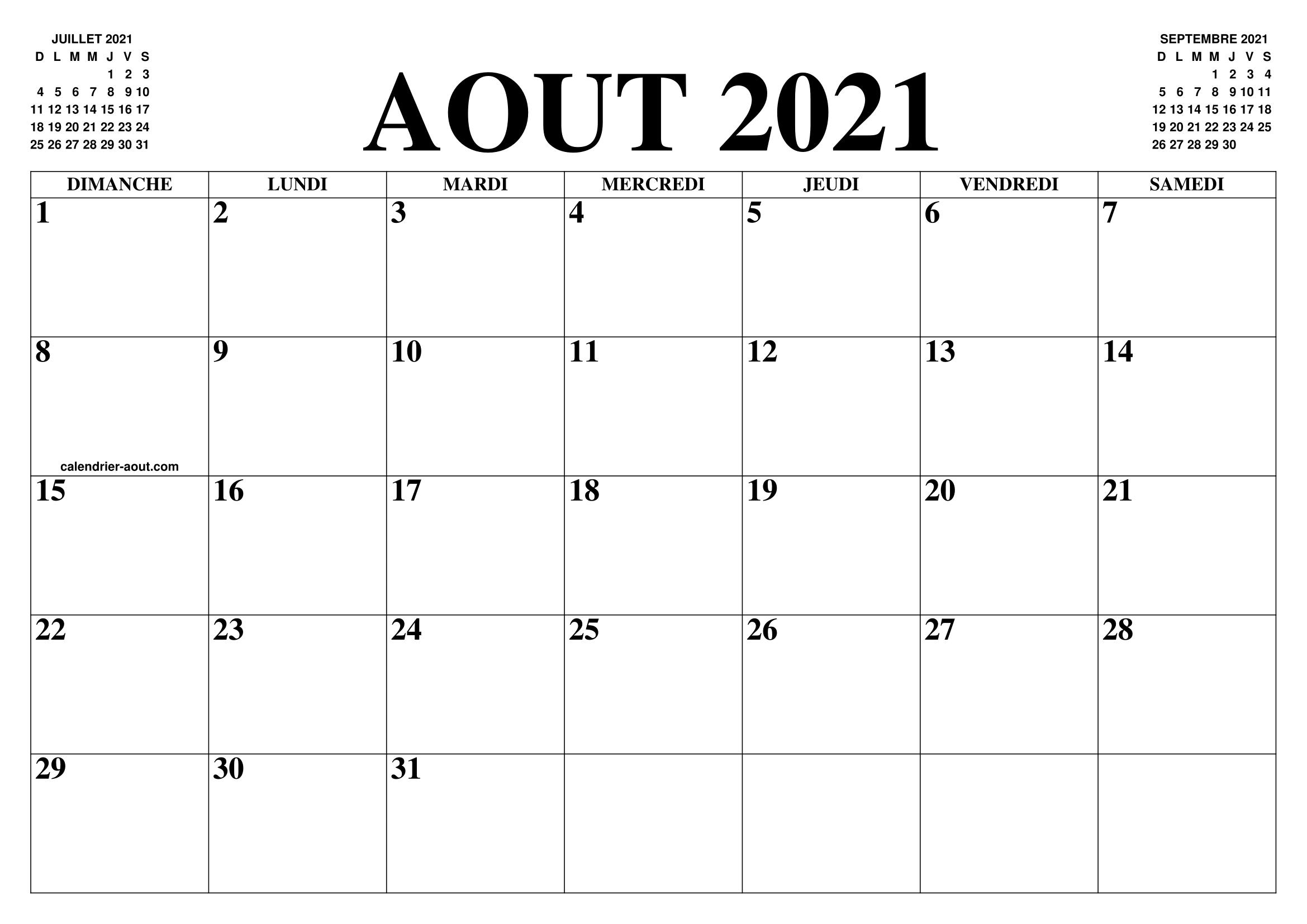 CALENDRIER AOUT 2021 : LE CALENDRIER DU MOIS DE AOUT GRATUIT A