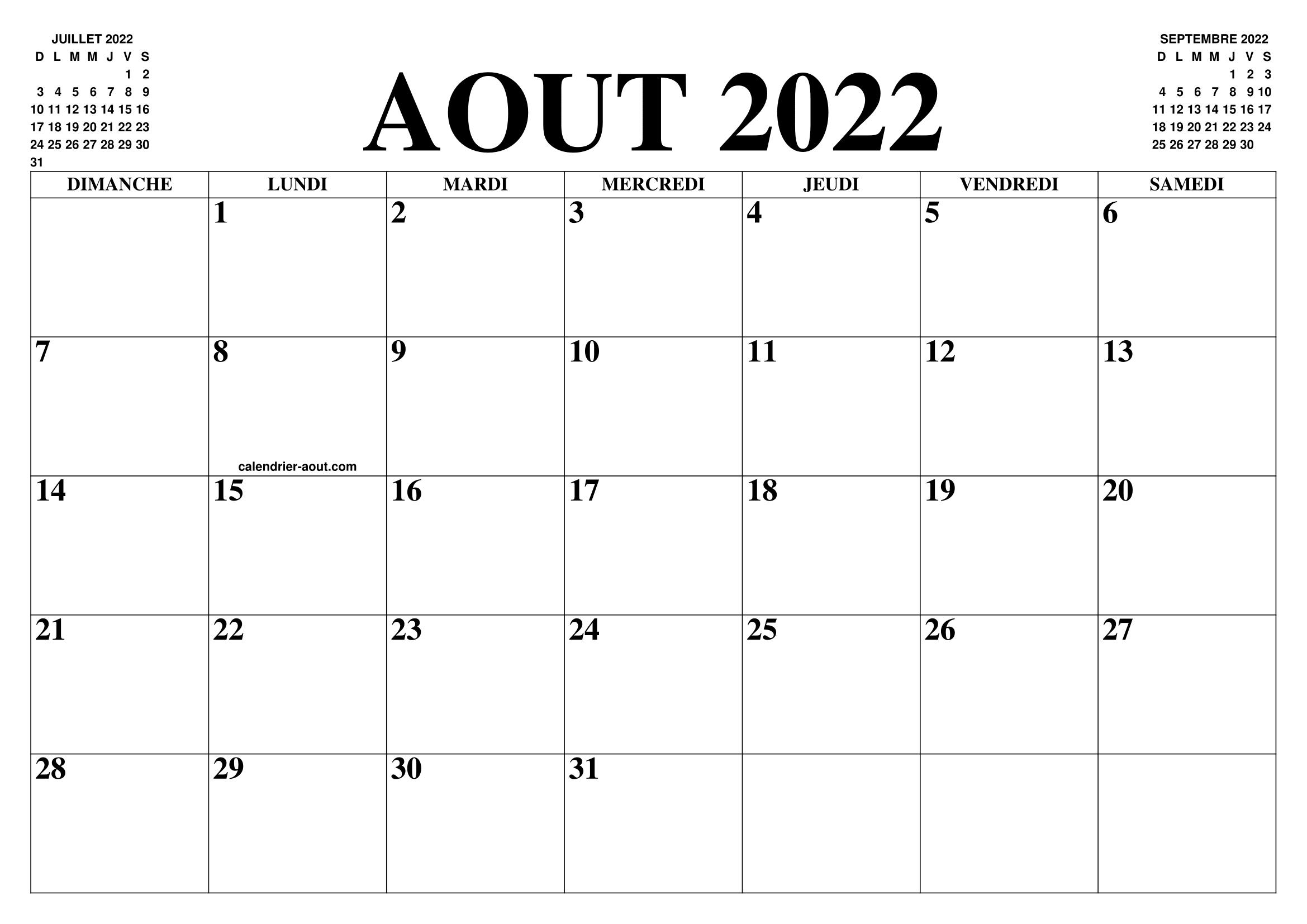 Calendrier Aout Septembre 2022 CALENDRIER AOUT 2022 : LE CALENDRIER DU MOIS DE AOUT GRATUIT A